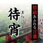 【待宵(まつよい)】- 現代に使いたい日本人の感情、情緒あふれる言葉